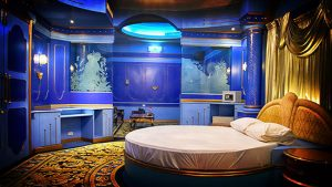 This is how one of the rooms looks like @ Poseidon complex. The round bed says it all.
